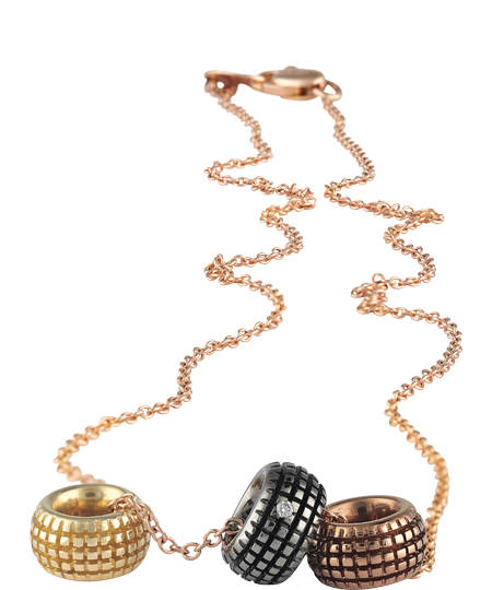 COLLANA IN ORO GIALLO, ROSA, BROWN, BLACK CON DIAMANTI