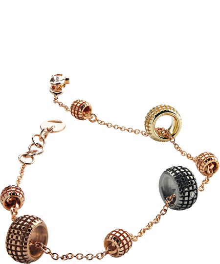 BRACCIALE IN ORO GIALLO, ROSA, BROWN, BLACK CON DIAMANTI